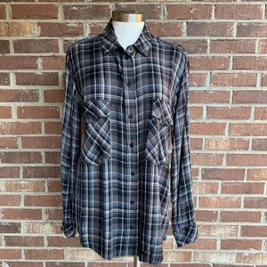 Sanctuary Plaid Button Down Long Sleeve Shirt